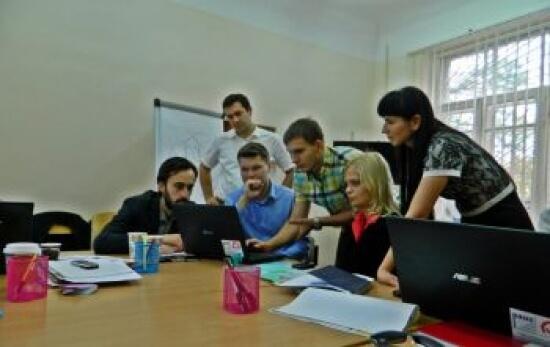 Spotkanie robocze z personelem i rezydentami Akademickiego Inkubatora Przedsiębiorczości w Charkowie z polskich mentorami